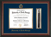 Image of University of North Georgia Diploma Frame - Rosewood w/Gold Lip - w/Embossed Military Seal & UNG Name - Tassel Holder - Navy on Gold mat