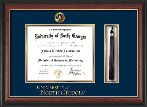 Image of University of North Georgia Diploma Frame - Rosewood w/Gold Lip - w/Embossed UNG Seal & Wordmark - Tassel Holder - Navy on Gold mat
