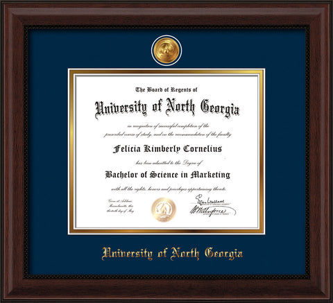 Image of University of North Georgia Diploma Frame - Mahogany Bead - w/24k Gold-Plated UNG Medallion & Name Embossing - Navy on Gold mats