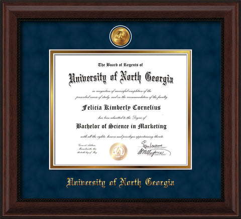 Image of University of North Georgia Diploma Frame - Mahogany Bead - w/24k Gold-Plated UNG Medallion & Name Embossing - Navy Suede on Gold mats