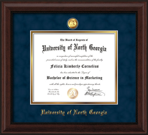 Image of University of North Georgia Diploma Frame - Mahogany Bead - w/24k Gold-Plated Military Medallion & UNG Name Embossing - Navy Suede on Gold mats