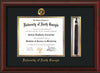 Image of University of North Georgia Diploma Frame - Mahogany Bead - w/Embossed UNG Seal & Name - Tassel Holder - Black on Gold mat