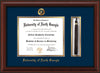 Image of University of North Georgia Diploma Frame - Mahogany Bead - w/Embossed UNG Seal & Name - Tassel Holder - Navy on Gold mat