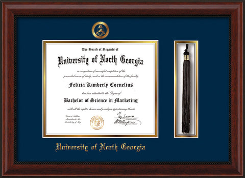 Image of University of North Georgia Diploma Frame - Mahogany Bead - w/Embossed Military Seal & UNG Name - Tassel Holder - Navy on Gold mat