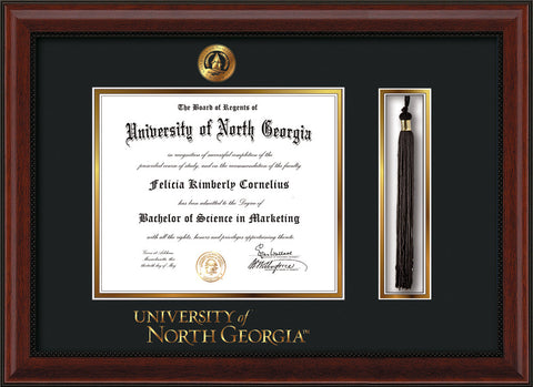 Image of University of North Georgia Diploma Frame - Mahogany Bead - w/Embossed UNG Seal & Wordmark - Tassel Holder - Black on Gold mat