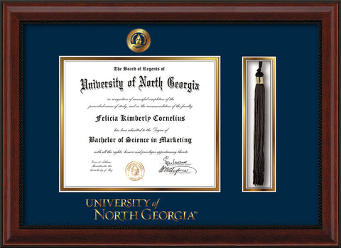 Image of University of North Georgia Diploma Frame - Mahogany Bead - w/Embossed UNG Seal & Wordmark - Tassel Holder - Navy on Gold mat