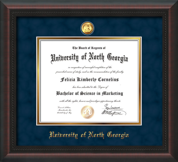Image of University of North Georgia Diploma Frame - Mahogany Braid - w/24k Gold-Plated Military Medallion & UNG Name Embossing - Navy Suede on Gold mats
