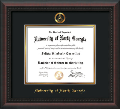 Image of University of North Georgia Diploma Frame - Mahogany Braid - w/Embossed Military Seal & UNG Name - Black on Gold mat