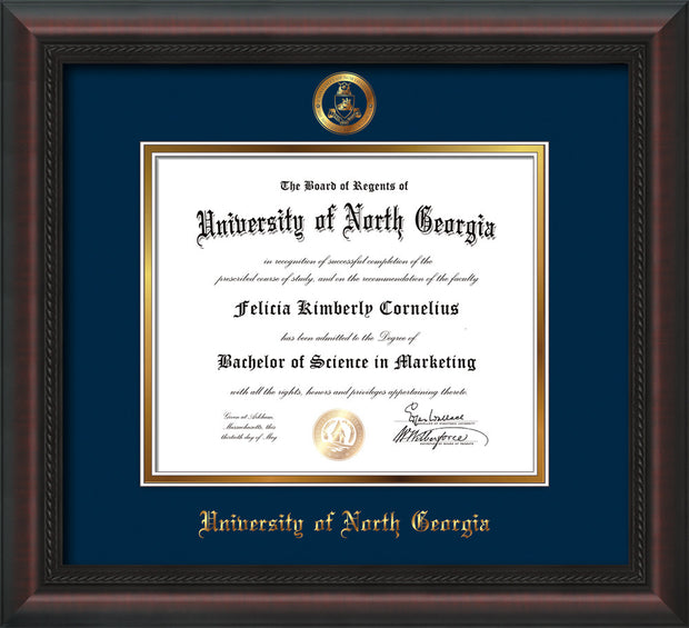 Image of University of North Georgia Diploma Frame - Mahogany Braid - w/Embossed Military Seal & UNG Name - Navy on Gold mat
