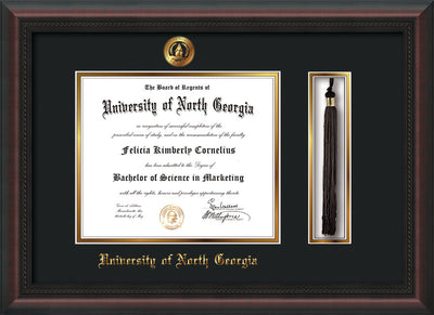 Image of University of North Georgia Diploma Frame - Mahogany Braid - w/Embossed UNG Seal & Name - Tassel Holder - Black on Gold mat