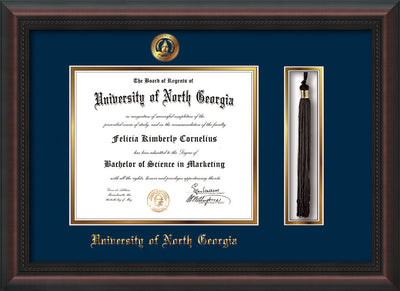 Image of University of North Georgia Diploma Frame - Mahogany Braid - w/Embossed UNG Seal & Name - Tassel Holder - Navy on Gold mat