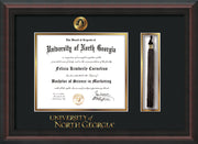 Image of University of North Georgia Diploma Frame - Mahogany Braid - w/Embossed UNG Seal & Wordmark - Tassel Holder - Black on Gold mat