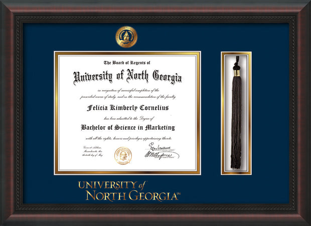 Image of University of North Georgia Diploma Frame - Mahogany Braid - w/Embossed UNG Seal & Wordmark - Tassel Holder - Navy on Gold mat