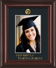 Image of University of North Georgia 5 x 7 Photo Frame - Mahogany Lacquer - w/Official Embossing of UNG Seal & Wordmark - Single Black mat