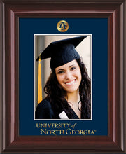 Image of University of North Georgia 5 x 7 Photo Frame - Mahogany Lacquer - w/Official Embossing of UNG Seal & Wordmark - Single Navy mat