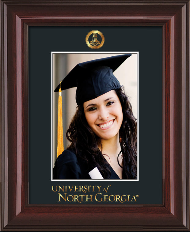 Image of University of North Georgia 5 x 7 Photo Frame - Mahogany Lacquer - w/Official Embossing of Military Seal & UNG Wordmark - Single Black mat