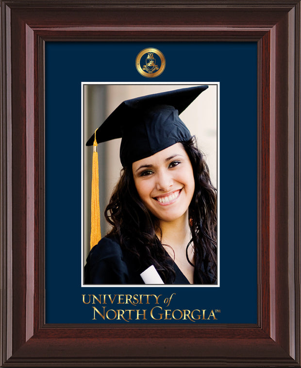 Image of University of North Georgia 5 x 7 Photo Frame - Mahogany Lacquer - w/Official Embossing of Military Seal & UNG Wordmark - Single Navy mat