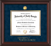 Image of University of North Georgia Diploma Frame - Mahogany Lacquer - w/24k Gold-Plated Military Medallion & UNG Wordmark Embossing - Navy Suede on Gold mats