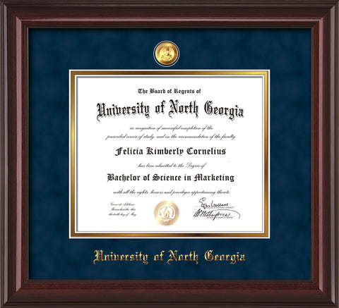 Image of University of North Georgia Diploma Frame - Mahogany Lacquer - w/24k Gold-Plated Military Medallion & UNG Name Embossing - Navy Suede on Gold mats