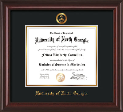 Image of University of North Georgia Diploma Frame - Mahogany Lacquer - w/Embossed Military Seal & UNG Name - Black on Gold mat