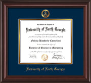 Image of University of North Georgia Diploma Frame - Mahogany Lacquer - w/Embossed Military Seal & UNG Name - Navy on Gold mat
