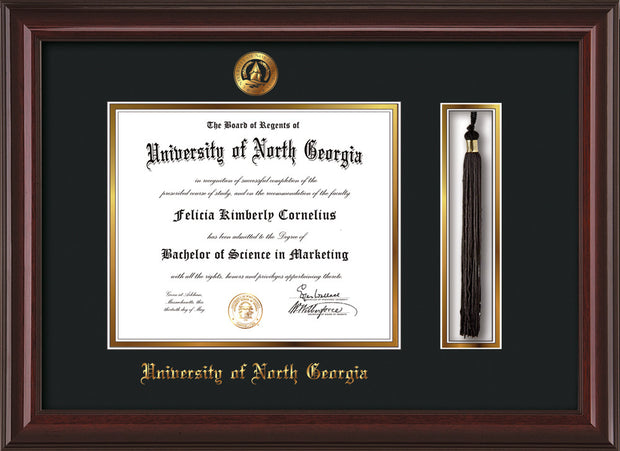 Image of University of North Georgia Diploma Frame - Mahogany Lacquer - w/Embossed UNG Seal & Name - Tassel Holder - Black on Gold mat