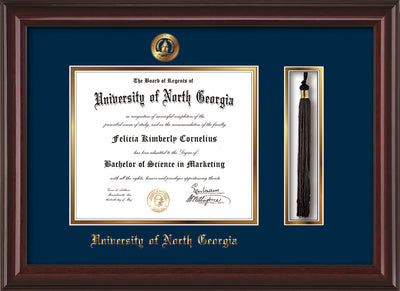 Image of University of North Georgia Diploma Frame - Mahogany Lacquer - w/Embossed UNG Seal & Name - Tassel Holder - Navy on Gold mat