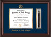 Image of University of North Georgia Diploma Frame - Mahogany Lacquer - w/Embossed Military Seal & UNG Name - Tassel Holder - Navy on Gold mat