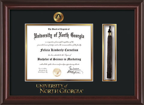 Image of University of North Georgia Diploma Frame - Mahogany Lacquer - w/Embossed UNG Seal & Wordmark - Tassel Holder - Black on Gold mat
