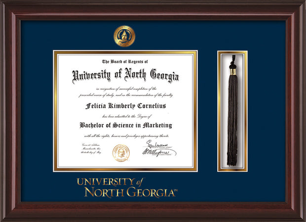 Image of University of North Georgia Diploma Frame - Mahogany Lacquer - w/Embossed UNG Seal & Wordmark - Tassel Holder - Navy on Gold mat