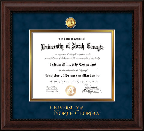 Image of University of North Georgia Diploma Frame - Mahogany Bead - w/24k Gold-Plated Military Medallion & UNG Wordmark Embossing - Navy Suede on Gold mats