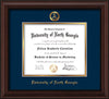 Image of University of North Georgia Diploma Frame - Mahogany Bead - w/Embossed Military Seal & UNG Name - Navy on Gold mat