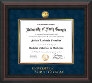 Image of University of North Georgia Diploma Frame - Mahogany Braid - w/24k Gold-Plated Military Medallion & UNG Wordmark Embossing - Navy Suede on Gold mats