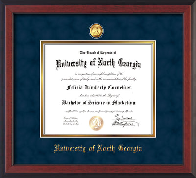 Image of University of North Georgia Diploma Frame - Cherry Reverse - w/24k Gold-Plated Military Medallion & UNG Name Embossing - Navy Suede on Gold mats