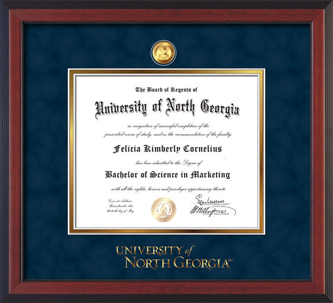 Image of University of North Georgia Diploma Frame - Cherry Reverse - w/24k Gold-Plated Military Medallion & UNG Wordmark Embossing - Navy Suede on Gold mats