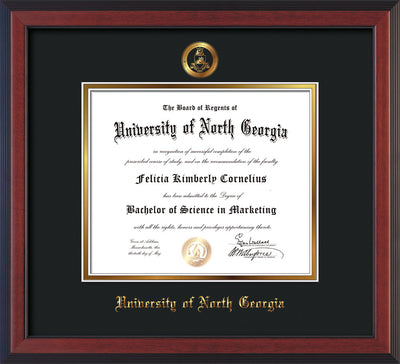 Image of University of North Georgia Diploma Frame - Cherry Reverse - w/Embossed Military Seal & UNG Name - Black on Gold mat