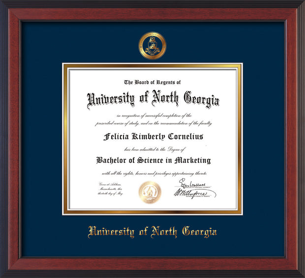 Image of University of North Georgia Diploma Frame - Cherry Reverse - w/Embossed Military Seal & UNG Name - Navy on Gold mat