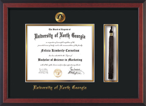 Image of University of North Georgia Diploma Frame - Cherry Reverse - w/Embossed UNG Seal & Name - Tassel Holder - Black on Gold mat