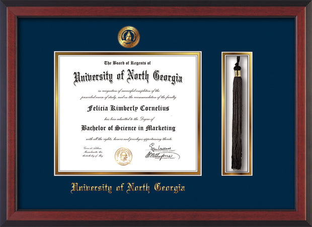 Image of University of North Georgia Diploma Frame - Cherry Reverse - w/Embossed UNG Seal & Name - Tassel Holder - Navy on Gold mat