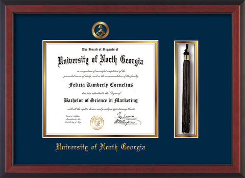 Image of University of North Georgia Diploma Frame - Cherry Reverse - w/Embossed Military Seal & UNG Name - Tassel Holder - Navy on Gold mat