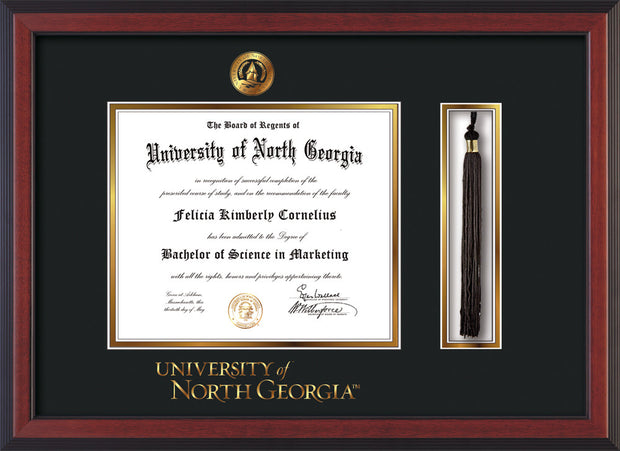 Image of University of North Georgia Diploma Frame - Cherry Reverse - w/Embossed UNG Seal & Wordmark - Tassel Holder - Black on Gold mat