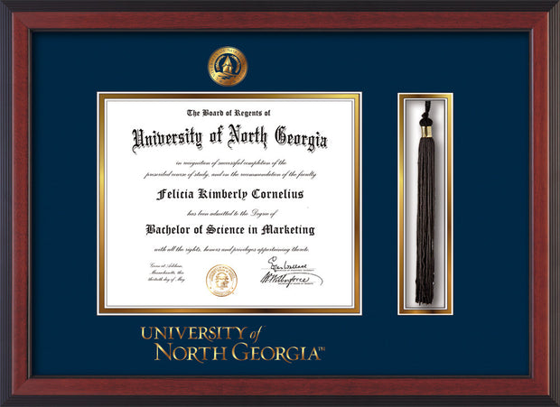 Image of University of North Georgia Diploma Frame - Cherry Reverse - w/Embossed UNG Seal & Wordmark - Tassel Holder - Navy on Gold mat