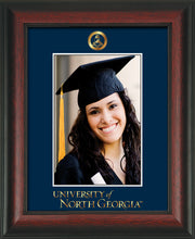Image of University of North Georgia 5 x 7 Photo Frame - Rosewood - w/Official Embossing of Military Seal & UNG Wordmark - Single Navy mat