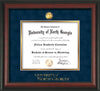 Image of University of North Georgia Diploma Frame - Rosewood - w/24k Gold-Plated Military Medallion & UNG Wordmark Embossing - Navy Suede on Gold mats