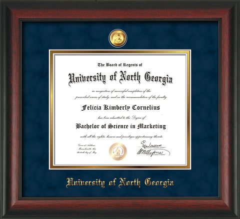Image of University of North Georgia Diploma Frame - Rosewood - w/24k Gold-Plated Military Medallion & UNG Name Embossing - Navy Suede on Gold mats