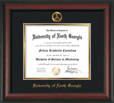 Image of University of North Georgia Diploma Frame - Rosewood - w/Embossed Military Seal & UNG Name - Black on Gold mat