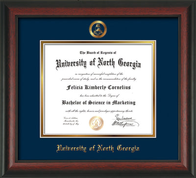 Image of University of North Georgia Diploma Frame - Rosewood - w/Embossed Military Seal & UNG Name - Navy on Gold mat