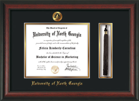 Image of University of North Georgia Diploma Frame - Rosewood - w/Embossed UNG Seal & Name - Tassel Holder - Black on Gold mat