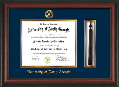 Image of University of North Georgia Diploma Frame - Rosewood - w/Embossed UNG Seal & Name - Tassel Holder - Navy on Gold mat