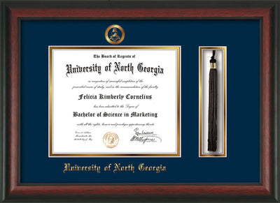 University of North Georgia Diploma Frame - Rosewood - w/Embossed Military Seal & UNG Name - Tassel Holder - Navy on Gold mat